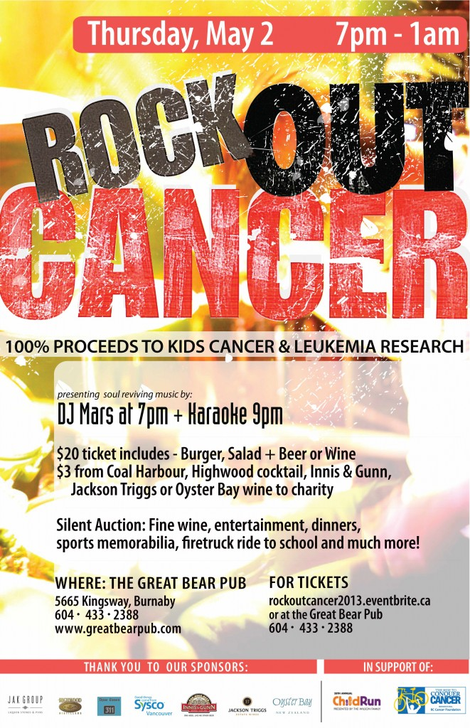 Rock Out Cancer Thursday May 2 2013 Burnaby BC